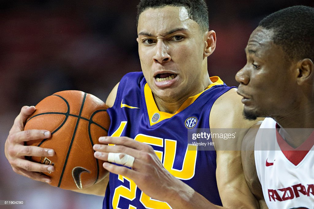 Ben Simmons #25 of the LSU Tigers drives to the basket against Moses Kingsley #33 of the Arkansas Razorbacks at Bud Walton Arena on February 23, 2016 in Fayetteville, Arkansas. The Razorbacks defeated the Tigers 85-65,