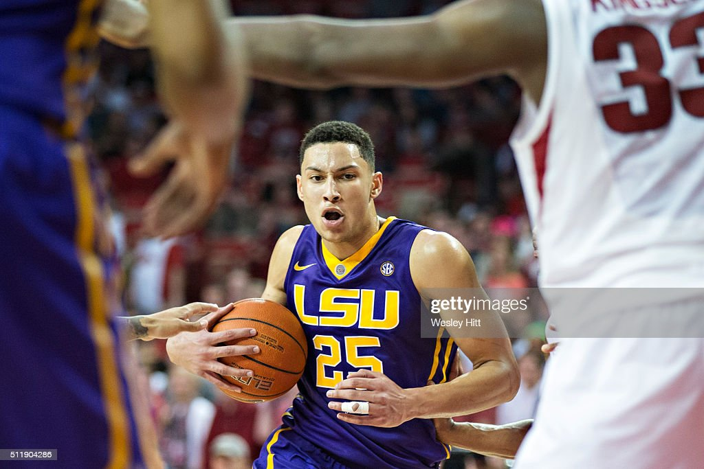 Ben Simmons #25 of the LSU Tigers drives to the basket against the Arkansas Razorbacks at Bud Walton Arena on February 23, 2016 in Fayetteville, Arkansas. The Razorbacks defeated the Tigers 85-65,