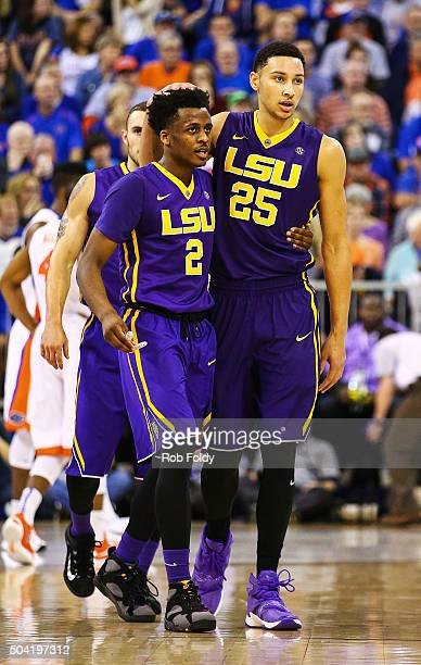 Ben Simmons of the LSU Tigers hugs Antonio Blakeney during the game against the Florida Gators at Stephen C O'Connell Center on January 9 2016 in...