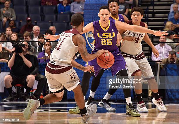 Ben Simmons of the LSU Tigers plays against Anthony Collins of the Texas AM Aggies in an SEC Basketball Tournament Semifinals game at Bridgestone...