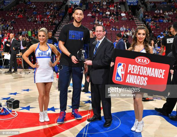 Ben Simmons of the Philadelphia 76ers accepts the Rookie of the Month award prior to the game against the Miami Heat at Wells Fargo Center on...