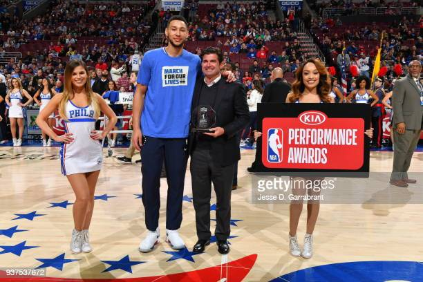 Ben Simmons of the Philadelphia 76ers accepts the rookie of the month award prior to the game against the Minnesota Timberwolves at Wells Fargo...