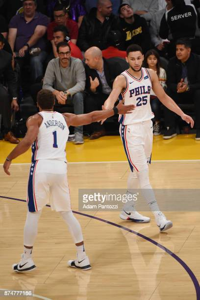 Ben Simmons of the Philadelphia 76ers and Justin Anderson of the Philadelphia 76ers high five during the game against the Los Angeles Lakers on...