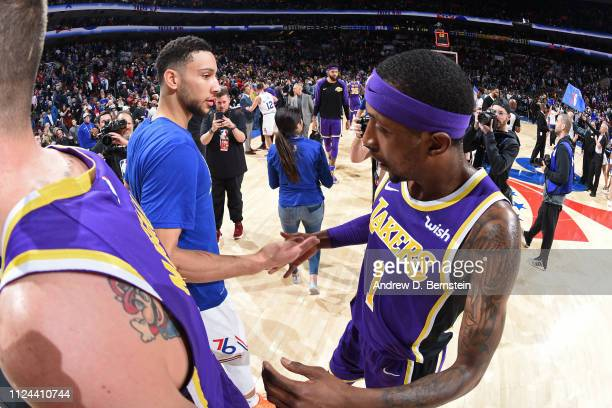 Ben Simmons of the Philadelphia 76ers and Kentavious CaldwellPope of the Los Angeles Lakers shake hands on February 10 2019 at the Wells Fargo Center...