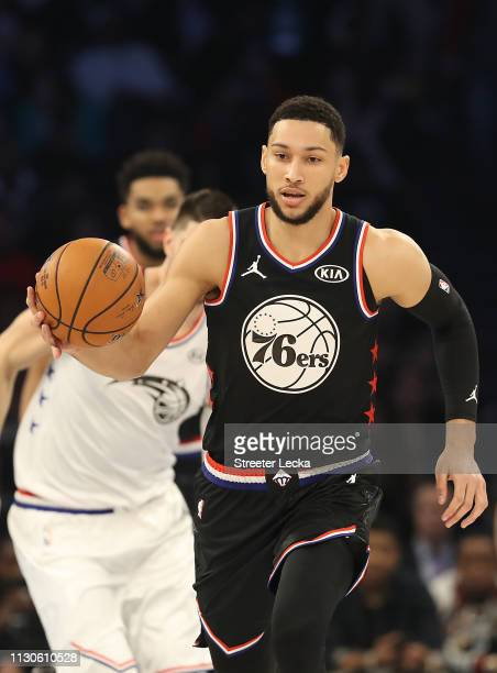 Ben Simmons of the Philadelphia 76ers and Team LeBron drives against Team Giannis during the NBA AllStar game as part of the 2019 NBA AllStar Weekend...