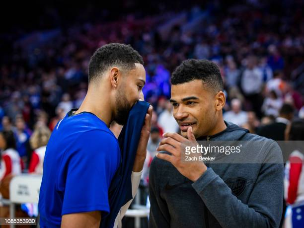 Ben Simmons of the Philadelphia 76ers and Timothe LuwawuCabarrot of the Oklahoma City Thunder talk before the game on January 19 2019 at the Wells...