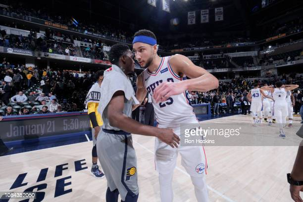 Ben Simmons of the Philadelphia 76ers and Victor Oladipo of the Indiana Pacers embrace following the game on January 17 2019 at Bankers Life...
