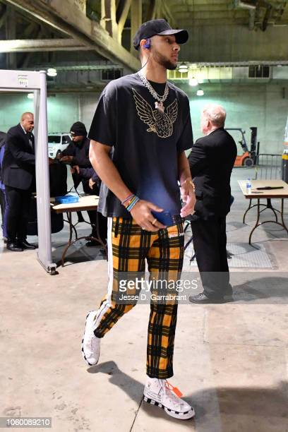 Ben Simmons of the Philadelphia 76ers arrives before the game against the Memphis Grizzlies on November 10 2018 at FedExForum in Memphis Tennessee...