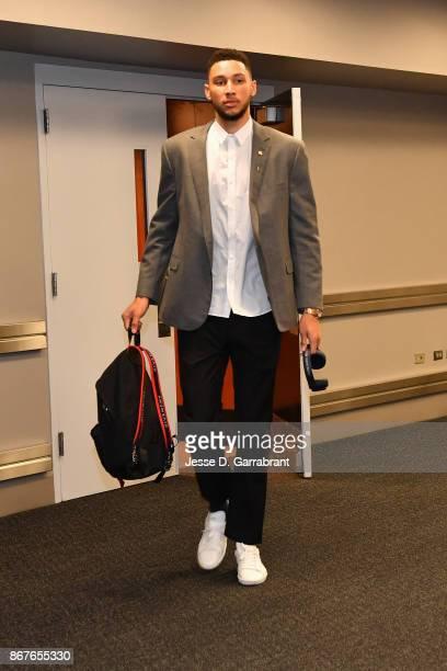 Ben Simmons of the Philadelphia 76ers arrives before the game against the Boston Celtics on October 20 2017 at Wells Fargo Center in Philadelphia...