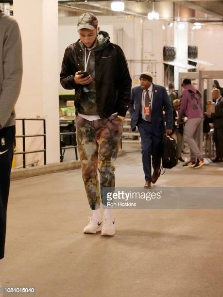 Ben Simmons of the Philadelphia 76ers arrives for the game against the Indiana Pacers on January 17 2019 at Bankers Life Fieldhouse in Indianapolis...