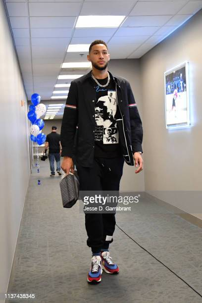 Ben Simmons of the Philadelphia 76ers arrives prior to a game against the Brooklyn Nets before during Game Two of Round One of the 2019 NBA Playoffs...