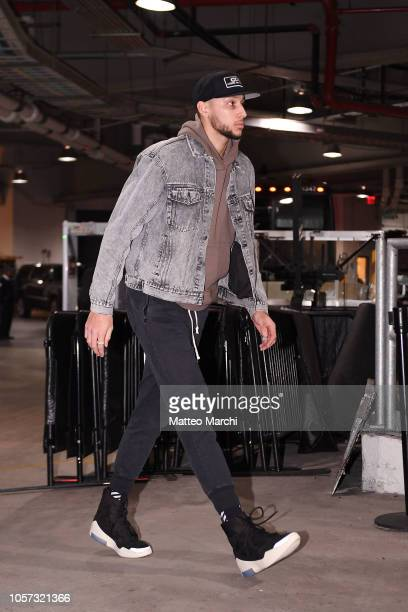 Ben Simmons of the Philadelphia 76ers arrives to the arena prior to the game against the Brooklyn Nets at Barclays Center on November 04 2018 in the...