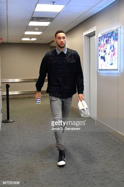 Ben Simmons of the Philadelphia 76ers arrives to the arena prior to Game Two of Round One of the 2018 NBA Playoffs against the Miami Heat on April 16...