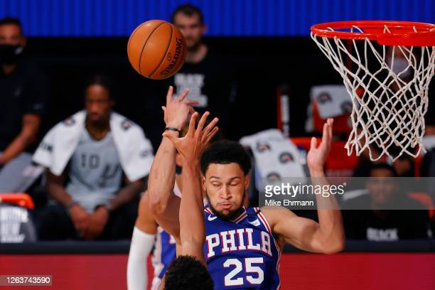 Ben Simmons of the Philadelphia 76ers attempts a shot against the San Antonio Spurs during the third quarter at Visa Athletic Center at ESPN Wide...