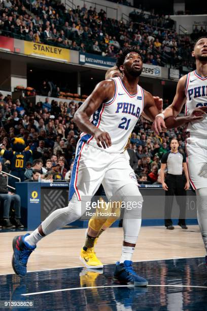 Ben Simmons of the Philadelphia 76ers boxes out against the Indiana Pacers on February 3 2018 at Bankers Life Fieldhouse in Indianapolis Indiana NOTE...