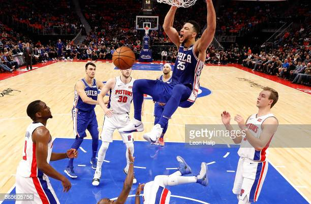 Ben Simmons of the Philadelphia 76ers celebrates after scoring late in the fourth quarter of the NBA game against the Detroit Pistons at Little...