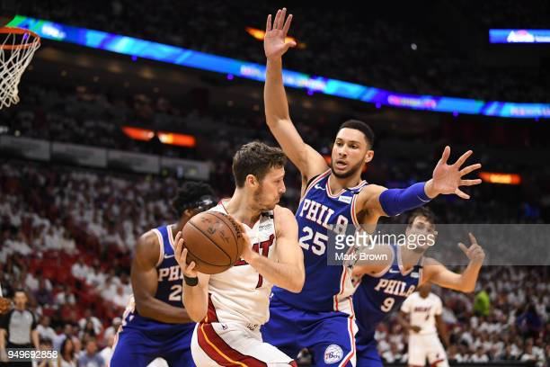 Ben Simmons of the Philadelphia 76ers defends Goran Dragic of the Miami Heat in the third quarter during Game Four of Round One of the 2018 NBA...