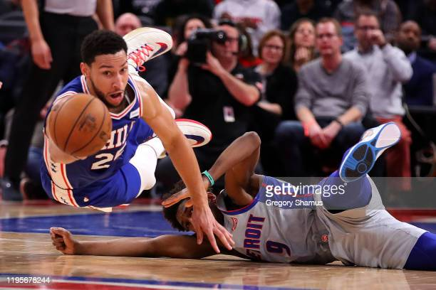 Ben Simmons of the Philadelphia 76ers dives past Langston Galloway of the Detroit Pistons during the second half at Little Caesars Arena on December...
