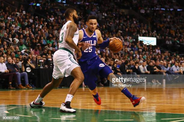 Ben Simmons of the Philadelphia 76ers dribbles against Marcus Morris of the Boston Celtics during the second half of their game at TD Garden on...