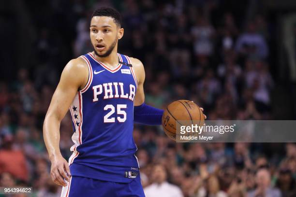 Ben Simmons of the Philadelphia 76ers dribbles against the Boston Celtics during the second quarter of Game Two of the Eastern Conference Second...