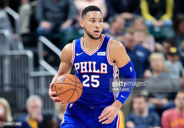Ben Simmons of the Philadelphia 76ers dribbles the ball against the Indiana Pacers at Bankers Life Fieldhouse on November 7 2018 in Indianapolis...