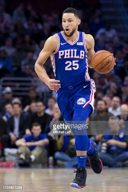 Ben Simmons of the Philadelphia 76ers dribbles the ball against the Houston Rockets at the Wells Fargo Center on January 21 2019 in Philadelphia...