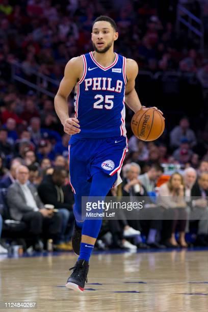 Ben Simmons of the Philadelphia 76ers dribbles the ball against the San Antonio Spurs at the Wells Fargo Center on January 23 2019 in Philadelphia...