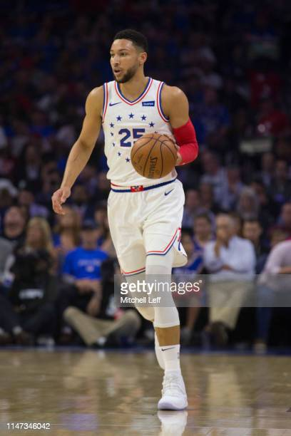 Ben Simmons of the Philadelphia 76ers dribbles the ball against the Toronto Raptors in Game Three of the Eastern Conference Semifinals at the Wells...