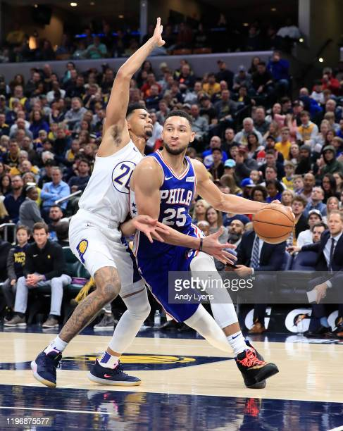 Ben Simmons of the Philadelphia 76ers dribbles the ball against the Indiana Pacers at Bankers Life Fieldhouse on December 31, 2019 in Indianapolis,...