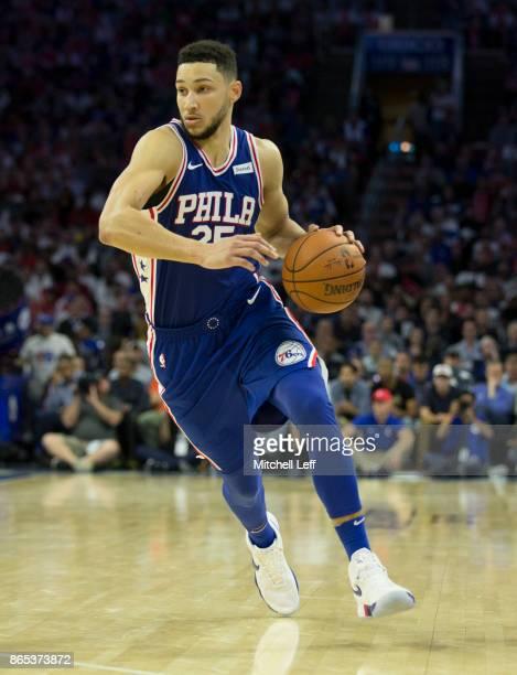 Ben Simmons of the Philadelphia 76ers dribbles the ball against the Boston Celtics at the Wells Fargo Center on October 20 2017 in Philadelphia...