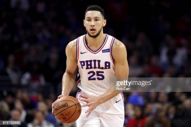 Ben Simmons of the Philadelphia 76ers dribbles the ball against the Golden State Warriors at Wells Fargo Center on November 18 2017 in...
