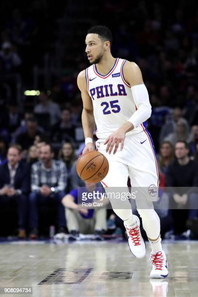 Ben Simmons of the Philadelphia 76ers dribbles the ball against the Milwaukee Bucks in the first half at Wells Fargo Center on January 20 2018 in...