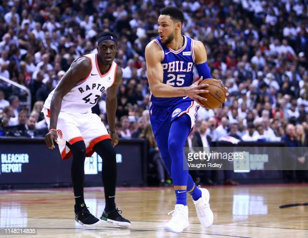 Ben Simmons of the Philadelphia 76ers dribbles the ball during Game Five of the second round of the 2019 NBA Playoffs against the Toronto Raptors at...