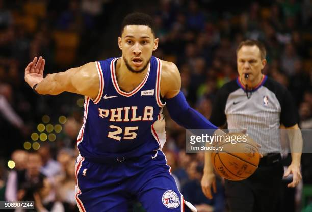 Ben Simmons of the Philadelphia 76ers dribbles the ball during the second half against the Boston Celtics at TD Garden on January 18 2018 in Boston...