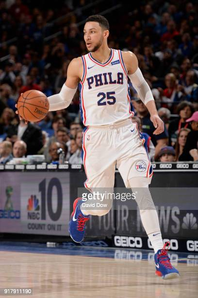 Ben Simmons of the Philadelphia 76ers dribbles the ball up court against the LA Clippers at Wells Fargo Center on February 10 2018 in Philadelphia...