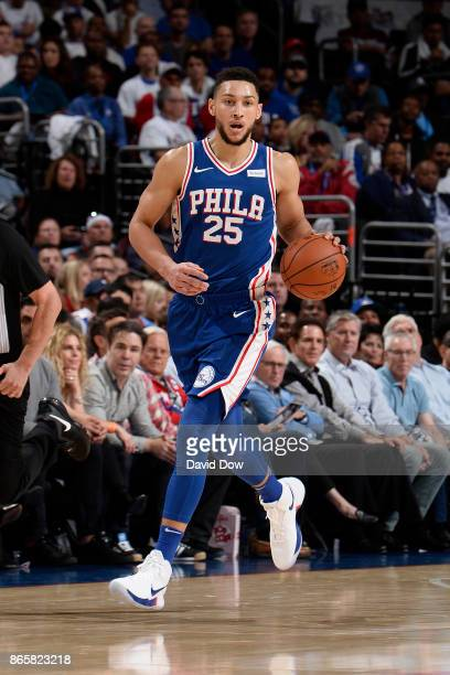 Ben Simmons of the Philadelphia 76ers dribbles the ball up the court against the Boston Celtics on October 20 2017 at the Wells Fargo Center in...