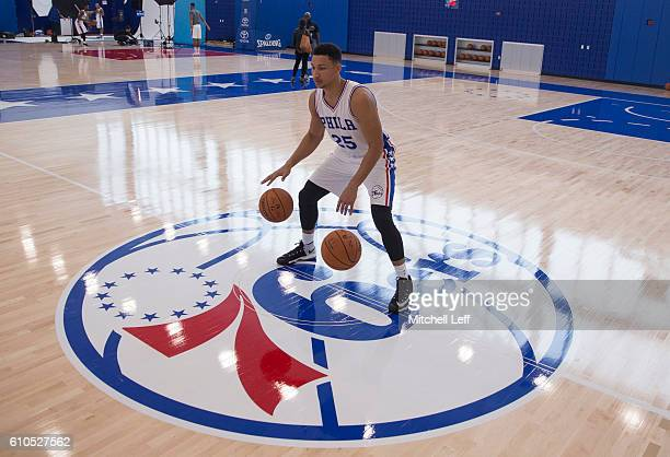 Ben Simmons of the Philadelphia 76ers dribbles two basketballs during media day on September 26 2016 in Camden New Jersey NOTE TO USER User expressly...