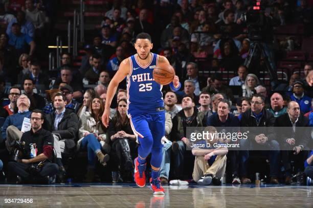 Ben Simmons of the Philadelphia 76ers dribbles up court against the Charlotte Hornets at Wells Fargo Center on March 19 2018 in Philadelphia...