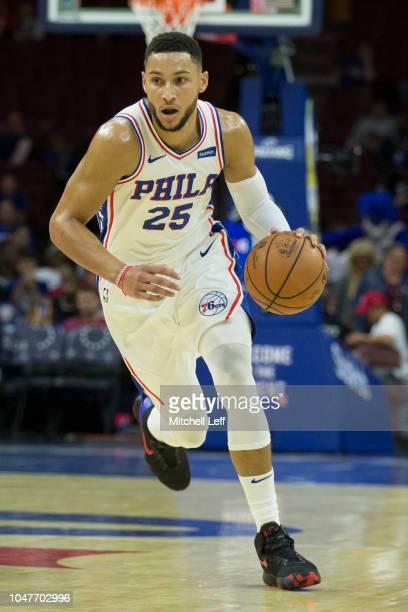Ben Simmons of the Philadelphia 76ers drives to the basket against Melbourne United in the preseason game at Wells Fargo Center on September 28 2018...