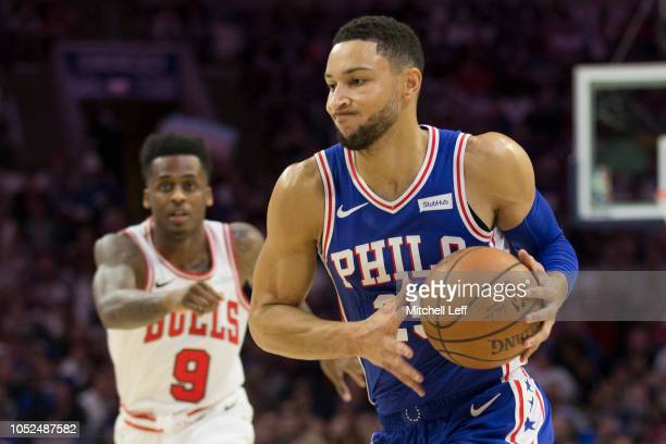 Ben Simmons of the Philadelphia 76ers drives to the basket against Antonio Blakeney of the Chicago Bulls in the first quarter at Wells Fargo Center...