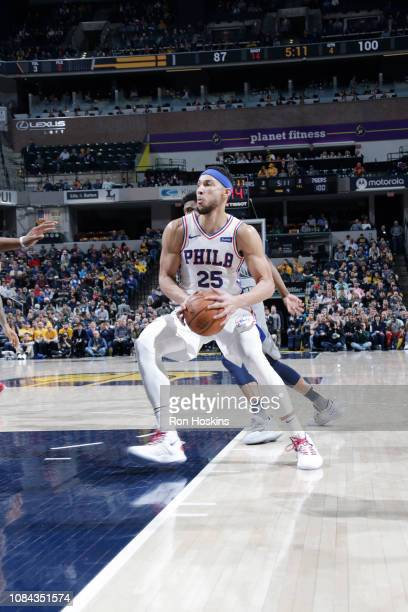 Ben Simmons of the Philadelphia 76ers drives to the basket against the Indiana Pacers on January 17 2019 at Bankers Life Fieldhouse in Indianapolis...