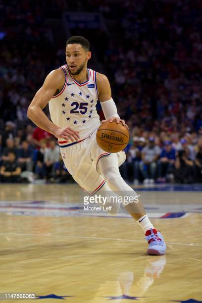 Ben Simmons of the Philadelphia 76ers drives to the basket against the Toronto Raptors in Game Four of the Eastern Conference Semifinals at the Wells...