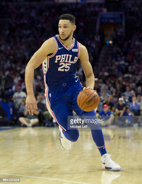 Ben Simmons of the Philadelphia 76ers drives to the basket against the Boston Celtics in the fourth quarter at the Wells Fargo Center on October 20...