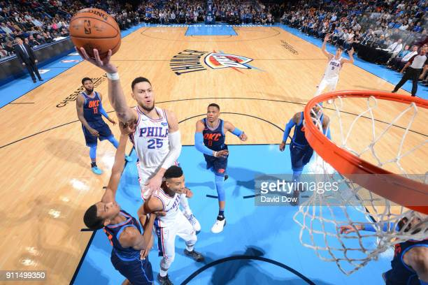 Ben Simmons of the Philadelphia 76ers drives to the basket against the Oklahoma City Thunder on January 28 2018 at Chesapeake Energy Arena in...