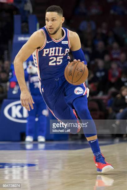 Ben Simmons of the Philadelphia 76ers drives to the basket against the Charlotte Hornets in the first quarter at the Wells Fargo Center on March 19...