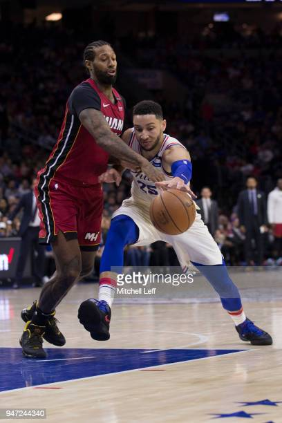 Ben Simmons of the Philadelphia 76ers drives to the basket against James Johnson of the Miami Heat in the second quarter during Game Two of the first...