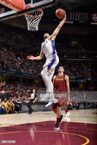 Ben Simmons of the Philadelphia 76ers dunks against the Cleveland Cavaliers on December 9 2017 at Quicken Loans Arena in Cleveland Ohio NOTE TO USER...