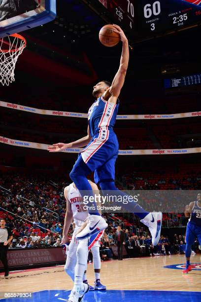 Ben Simmons of the Philadelphia 76ers dunks against the Detroit Pistons on October 23 2017 at Little Caesars Arena in Detroit Michigan NOTE TO USER...
