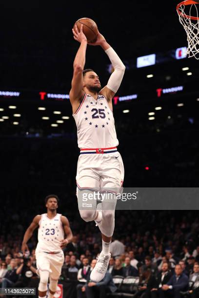 Ben Simmons of the Philadelphia 76ers dunks in the fourth quarter against the Brooklyn Nets during game three of Round One of the 2019 NBA Playoffs...