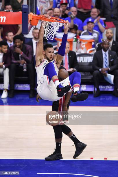 Ben Simmons of the Philadelphia 76ers dunks the ball against Bam Adebayo of the Miami Heat during game one of round one of the 2018 NBA Playoffs on...